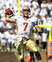 Oct 2, 2010; Charlottesville, VA, USA; Florida State Seminoles quarterback Christian Ponder (7) throws the ball during the first half of the game against the Virginia Cavaliers at Scott Stadium.  Photo/The Daily Progress/Andrew Shurtleff