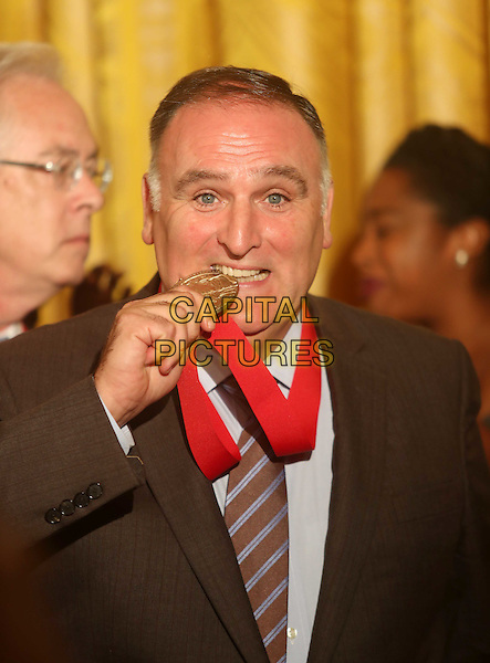 Celebrity Chef Jose Andres recieves his 2015 Medal of Honor during a ceremony in the East Room of the White House in Washington, DC on Thursday, September 22, 2016. <br /> CAP/MPI34<br /> &copy;MPI34/Capital Pictures