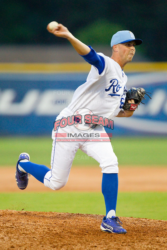 Burlington Royals relief pitcher Ben Tomchick (62) in action against the Pulaski Mariners at Burlington Athletic Park on July 20, 2013 in Burlington, North Carolina.  The Royals defeated the Mariners 6-5.  (Brian Westerholt/Four Seam Images)