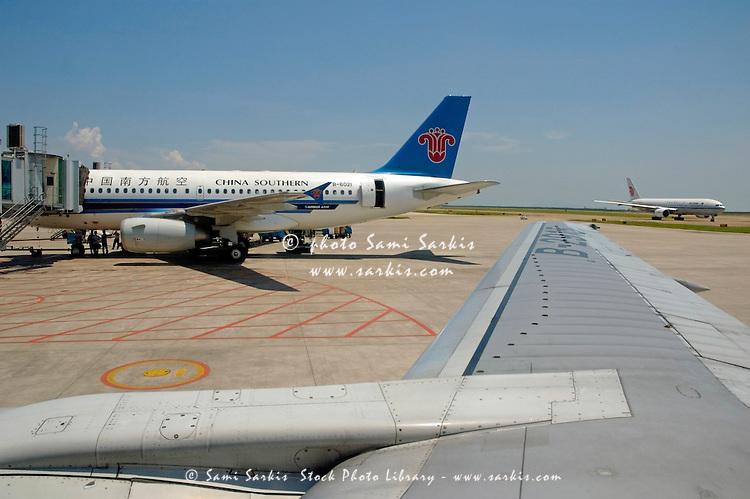 Aeroplanes at Shenzhen Airport, Guangdong, China.