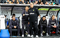 Leeds United manager Marcelo Bielsa has a word with his staff before kick off<br /> <br /> Photographer Alex Dodd/CameraSport<br /> <br /> The EFL Sky Bet Championship Play-off  First Leg - Derby County v Leeds United - Thursday 9th May 2019 - Pride Park - Derby<br /> <br /> World Copyright © 2019 CameraSport. All rights reserved. 43 Linden Ave. Countesthorpe. Leicester. England. LE8 5PG - Tel: +44 (0) 116 277 4147 - admin@camerasport.com - www.camerasport.com
