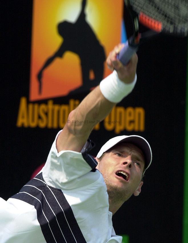 Australian Open Tennis 2003.13/01/2003.Netherland's Sjeng Schalken in first round matcha against Jack Brasington of the USA