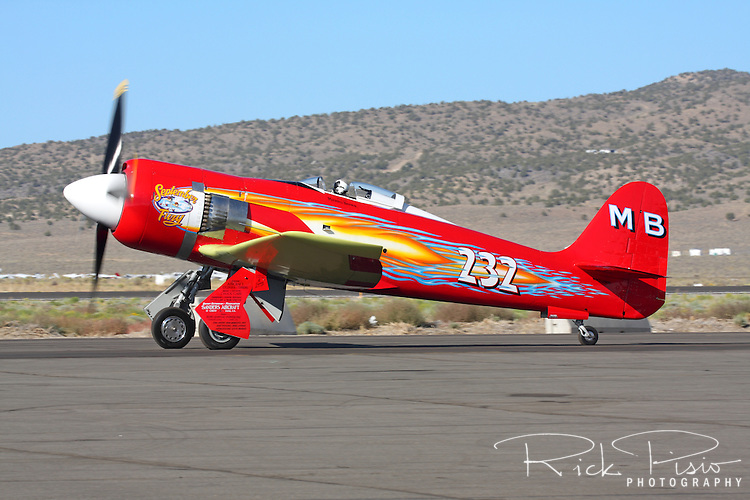 "Owner and pilot Mike Brown taxies the highly modified Hawker Sea Fury ""September Fury"" after finishing third in the 2008 Unlimited Gold Championship Race of the the 2008 Reno Championship Air Races. September Fury is a previous National Champion when it finished first in the 2006 with a speed of 481.619 mph over the 67.29 mile course."