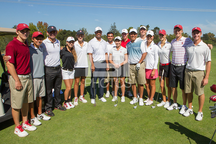 STANFORD, CA - OCTOBER 11, 2014--Tiger Woods,  spends time and talks with members of the Stanford women's and men's golf team on Saturday, October 11, 2014.
