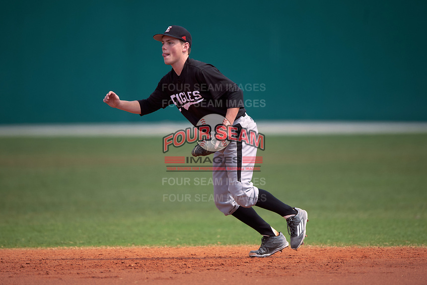 Edgewood Eagles Steve Gavin (15) during the second game of a doubleheader against the Lasell Lasers on March 14, 2016 at Terry Park in Fort Myers, Florida.  Edgewood defeated Lasell 10-2.  (Mike Janes/Four Seam Images)