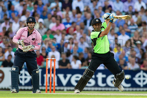 8th July 2010. Friends Provident T20, Surrey v Middlesex. Younus Kahn of Surrey hits out during the Friends Provident T20 match between Surrey and Middlesex at the Brit Oval, on July 08, 2010 in London, England.