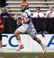 Matt Lovejoy (40) of Virginia brings the ball upfield during the ACC men's lacrosse tournament finals in College Park, MD.  Virginia defeated Maryland, 10-6.