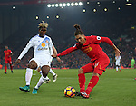 Roberto Firmino of Liverpool gets shot in on goal during the Premier League match at the Anfield Stadium, Liverpool. Picture date: November 26th, 2016. Pic Simon Bellis/Sportimage