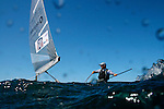 "Finn champion Ben Ainslie on a training session in Sydney Australia.Charles Benedict ""Ben"" Ainslie, CBE (born 5 February 1977 in Macclesfield) is an English sailor and three-times Olympic gold medalist. He started sailing at the age of 4 and first competed at the age of 10. Ainslie's first international competition was the 1989 Optimist world championships held in Japan where he placed 37th..The son of Roderick 'Roddy' Ainslie, who captained a boat that took part in the first Whitbread Round The World Race in 1973, he won a gold medal at the World Youth Championships in 1995 and was awarded the title of British Yachtsman of the Year in 1995, 1999, 2000 and 2002. He was elected ISAF World Sailor of the Year in 1998 and 2002..Early life.Ainslie attended Peter Symonds College and Truro School in Cornwall..Sailing.Olympic success.Olympic medal record.Competitor for  Great Britain.Sailing.Gold .2008 Beijing .Finn.Gold .2004 Athens .Finn.Gold .2000 Sydney .Laser.Silver .1996 Atlanta .Laser.Ainslie was a gold medalist at the 1993 Laser Radial World Championship, gold medalist at the 1993 Laser Radial European Championship, silver medalist at the 1994 IYRU World Youth Sailing Championship in Marathon, Greece and gold medalist at the 1995 IYRU World Youth Sailing Championship in Hamilton, Bermuda..Ainslie won silver at the 1996 Olympic Games and gold in the 2000 Summer Olympics in the Laser class. He put on 40 pounds (18 kg) and moved to the larger Finn class for the 2004 Summer Olympics, where he won gold, a feat he repeated in the 2008 competition. He was appointed Member of the Order of the British Empire (MBE) in the 2001 New Year Honours after his success in Sydney, and was promoted to Officer of the Order of the British Empire (OBE) in the 2005 New Year Honours following the Athens Games. He was again promoted, to Commander of the Order of the British Empire (CBE) in the 2009 New Year Honours, following the Beijing Games..Americas Cup.At the beginning of 2005 he worked"