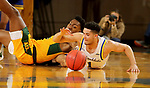 BROOKINGS, SD - JANUARY 22: Matthew Mims #1 of the South Dakota State Jackrabbits battles for the loose ball with Tyree Eady #3 of the North Dakota State Bison at Frost Arena on January 22, 2020 in Brookings, South Dakota. (Photo by Dave Eggen/Inertia)