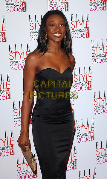 BEVERLY KNIGHT.The Elle Style Awards 2006, Atlantis Gallery, Old Truman Brewery, Brick Lane, London, UK..February 20th, 2006 .Ref: BEL.half length Beverley black strapless dress.www.capitalpictures.com.sales@capitalpictures.com.© Capital Pictures.