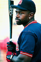 Dmitri Young of the St.Louis Cardinals during a game at Dodger Stadium in Los Angeles, California during the 1997 season.(Larry Goren/Four Seam Images)