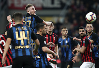 Calcio, Serie A: AC Milan - Inter Milan, Giuseppe Meazza (San Siro) stadium, Milan on 17 March 2019.  <br /> Inter's Milan Skriniar (up) jumps during the Italian Serie A football match between Milan and Inter Milan at Giuseppe Meazza stadium, on 17 March 2019. <br /> UPDATE IMAGES PRESS/Isabella Bonotto