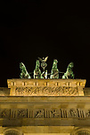 Quadriga on top of Brandenburg Gate at night  in Berlin Germany