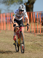 NWA Democrat-Gazette/ANDY SHUPE<br /> Maghalie Rochette competes Saturday, Oct. 5, 2019, during the inaugural FayetteCross two-day cyclocross race series on Millsap Mountain at Centennial Park in Fayetteville. Visit nwadg.com/photos to see more photographs from the race.