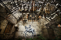 Painting by artist Phlegm in abandoned building in Sheffield, South Yorkshire http://www.vivecakohphotography.co.uk/2011/07/19/riding-to-nowhere/