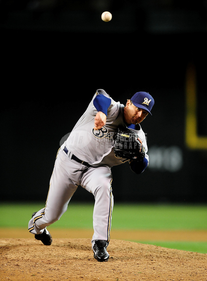 May 7, 2010; Phoenix, AZ, USA; Milwaukee Brewers pitcher Trevor Hoffman pitches in the ninth inning against the Arizona Diamondbacks at Chase Field. The Brewers defeated the Diamondbacks 3-2. With the save Hoffman extended the all time save record to 596. Mandatory Credit: Mark J. Rebilas-
