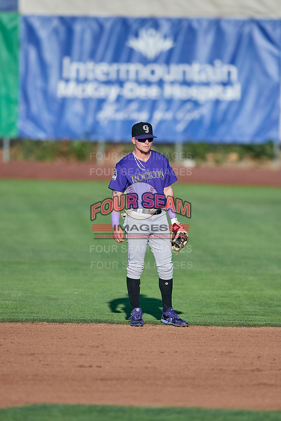 Hunter Stovall (1) of the Grand Junction Rockies on defense during a game against the Ogden Raptors at Lindquist Field on September 7, 2018 in Ogden, Utah. The Rockies defeated the Raptors 8-5. (Stephen Smith/Four Seam Images)