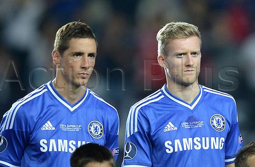 30.08.2013. Prague, Czech Republic.   UEFA Supercup 2013 FC Bayern Munich versus Chelsea. Fernando Torres and Andreas Schuller   FC Chelsea