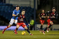 Blackburn Rovers' Jack Payne gets away from Portsmouth's Ben Close with team mate Bradley Dack in support<br /> <br /> Photographer Andrew Kearns/CameraSport<br /> <br /> The EFL Sky Bet League One - Portsmouth v Blackburn Rovers - Tuesday 13th February 2018 - Fratton Park - Portsmouth<br /> <br /> World Copyright &copy; 2018 CameraSport. All rights reserved. 43 Linden Ave. Countesthorpe. Leicester. England. LE8 5PG - Tel: +44 (0) 116 277 4147 - admin@camerasport.com - www.camerasport.com