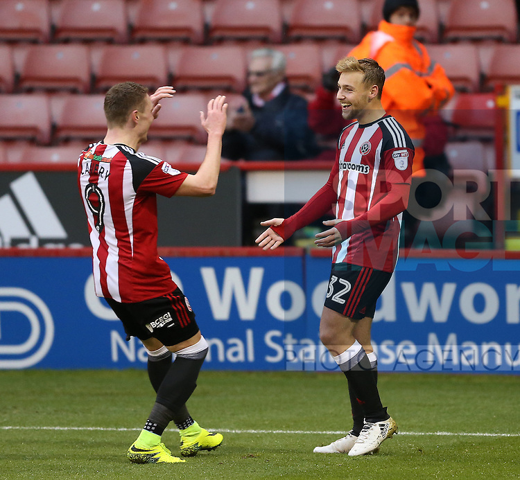 Harry Chapman of Sheffield Utd celebrates his third goal during the Emirates FA Cup Round One match at Bramall Lane Stadium, Sheffield. Picture date: November 6th, 2016. Pic Simon Bellis/Sportimage