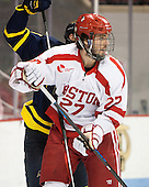 Doyle Somerby (BU - 27) - The Boston University Terriers defeated the visiting Merrimack College Warriors 4-0 (EN) on Friday, January 29, 2016, at Agganis Arena in Boston, Massachusetts.