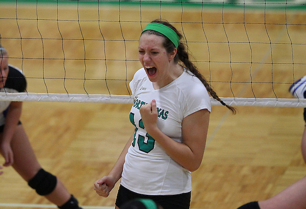 Denton, TX - OCTOBER 7: 1Katie Dudding #3 of the University of North Texas Mean Green Volleyball celebrates  against the Middle Tennessee at University of North Texas Volleyball Complex in Denton on October 7, 2012 in Denton, Texas. (Photo by Rick Yeatts)