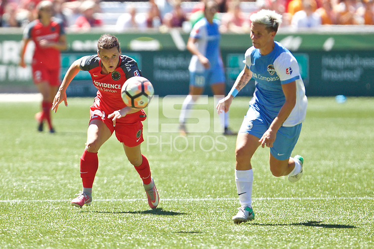Portland, OR - Saturday August 05, 2017: Hayley Raso, Janine Van Wyk during a regular season National Women's Soccer League (NWSL) match between the Portland Thorns FC and the Houston Dash at Providence Park.