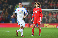 Blas Perez of Panama and Ethan Ampadu of Wales during the International Friendly match between Wales and Panama at The Cardiff City Stadium, Wales, UK. Tuesday 14 November 2017