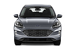 Car photography straight front view of a 2020 Ford Kuga Titanium 5 Door SUV Front View