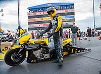 Aug 31, 2018; Clermont, IN, USA; NHRA pro stock motorcycle rider Eddie Krawiec during qualifying for the US Nationals at Lucas Oil Raceway. Mandatory Credit: Mark J. Rebilas-USA TODAY Sports