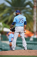 Tampa Bay Rays relief pitcher Luis Santos (75) looks in for the sign during a Grapefruit League Spring Training game against the Baltimore Orioles on March 1, 2019 at Ed Smith Stadium in Sarasota, Florida.  Rays defeated the Orioles 10-5.  (Mike Janes/Four Seam Images)