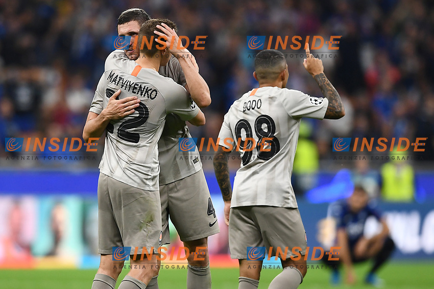 Players of  Shakhtar Donetsk celebrating after victory.<br /> Milano 01-10-2019 Stadio Giuseppe Meazza <br /> Football Champions League 2019//2020 <br /> Group Stage Group C <br /> Atalanta - Shakhtar Donetsk  <br /> Photo Image Sport / Insidefoto