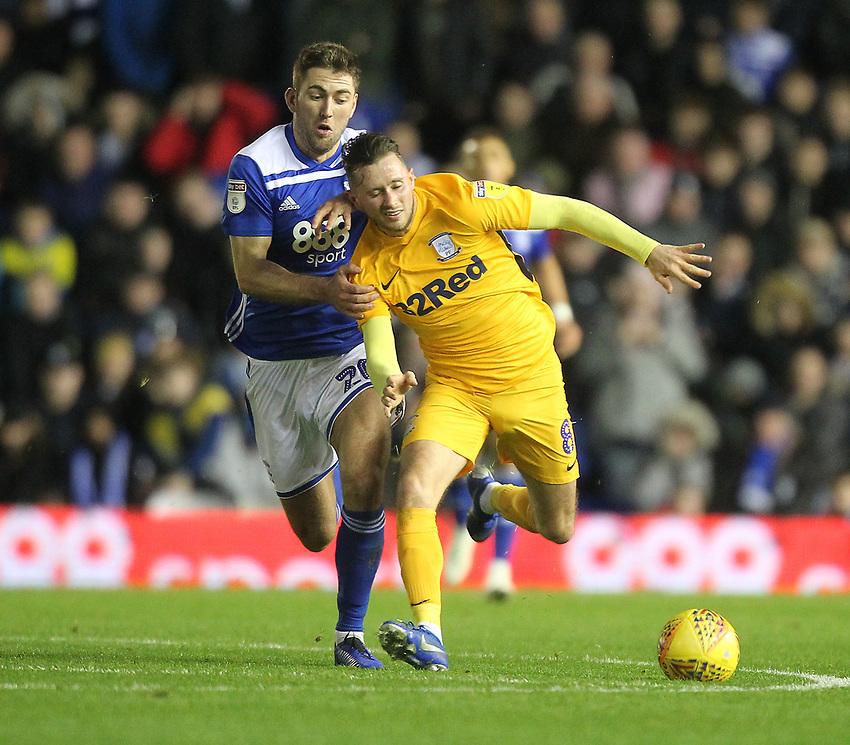 Preston North End's Alan Browne battles with  Birmingham City's Gary Gardner <br /> <br /> Photographer Mick Walker/CameraSport<br /> <br /> The EFL Sky Bet Championship - Birmingham City v Preston North End - Saturday 1st December 2018 - St Andrew's - Birmingham<br /> <br /> World Copyright © 2018 CameraSport. All rights reserved. 43 Linden Ave. Countesthorpe. Leicester. England. LE8 5PG - Tel: +44 (0) 116 277 4147 - admin@camerasport.com - www.camerasport.com