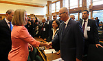 Palestinian Prime Minister Rami Hamdallah shakes hand with High Representative of the European Union for Foreign Affairs and Security Policy Federica Mogherini at the extraordinary ministerial conference of Food and Agriculture Organization of the Unitend Nations, in Rome, Italy, March 15, 2018. Photo by Prime Minister Office