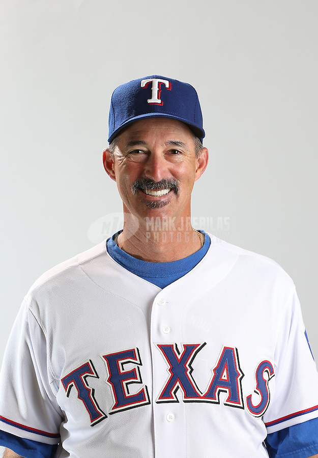 Feb. 20, 2013; Surprise, AZ, USA: Texas Rangers pitching coach Mike Maddux poses for a portrait during photo day at Surprise Stadium. Mandatory Credit: Mark J. Rebilas-