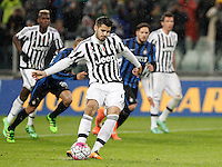 Calcio, Serie A: Juventus vs Inter. Torino, Juventus Stadium, 28 February 2016.<br /> Juventus&rsquo; Alvaro Morata scores on a penalty kick during the Italian Serie A football match between Juventus and Inter at Turin's Juventus Stadium, 28 February 2016.<br /> UPDATE IMAGES PRESS/Isabella Bonotto