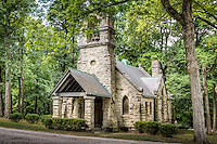 St. John the Baptist Chapel<br /> in the Elkhart Cemetery of the Route 66 town of Elkhart Illinois.  This Episcopalian Chapel was built in 1890 by Lemira Parke Gillett in memory of her husband John Dean Gillett. It is the only privately owned and operated church in Illinois. Constructed by the Culver Stone and Marble Company of Springfield, it is one of the few remaining Culver buildings in the area. Designed in Gothic Revival style, it houses one of thee oldest workingpipe organs&nbsp;in the state (built by Hook and Hasting Company out of Boston)&nbsp;Beautiful Tiffany style stained-glass windows grace the interior of this historic Chapel.