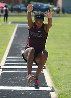 NWA Democrat-Gazette/ANDY SHUPE<br /> Jael Harried of Siloam Springs leaps Wednesday, May 15, 2019, while competing in the portion of the state heptathlon championship at Ramay Junior High School. Visit nwadg.com/photos to see more photographs from the meet.