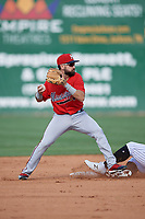 Mississippi Braves second baseman Alejandro Salazar (48) throws to first base during a Southern League game against the Jackson Generals on July 23, 2019 at The Ballpark at Jackson in Jackson, Tennessee.  Jackson defeated Mississippi 2-0 in the first game of a doubleheader.  (Mike Janes/Four Seam Images)