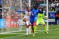 Harrison, NJ - Sunday March 04, 2018: Lynn Williams, Griege Mbock Bathy during a 2018 SheBelieves Cup match match between the women's national teams of the United States (USA) and France (FRA) at Red Bull Arena.