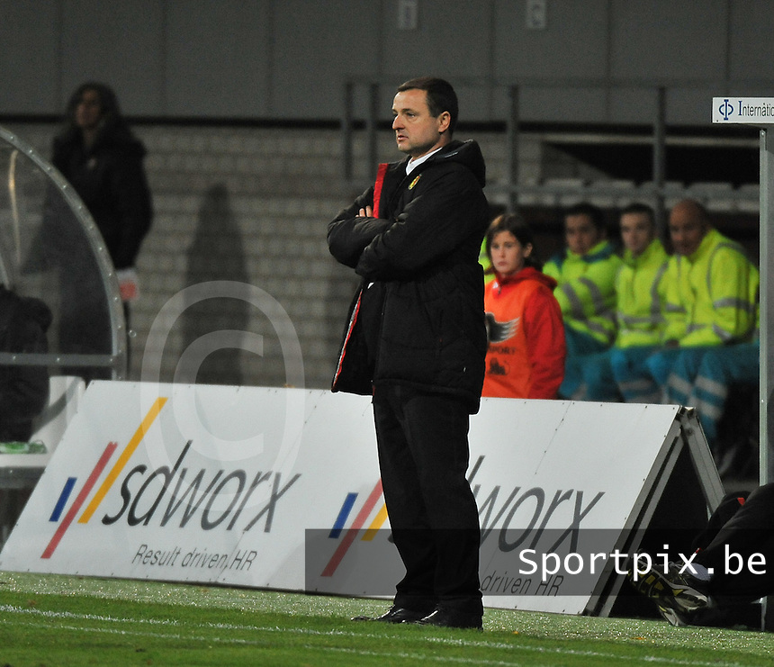 20131031 - ANTWERPEN , BELGIUM : Belgian coach Ives Serneels pictured during the female soccer match between Belgium and Portugal , on the fourth matchday in group 5 of the UEFA qualifying round to the FIFA Women World Cup in Canada 2015 at Het Kiel stadium , Antwerp . Thursday 31st October 2013. PHOTO DAVID CATRY