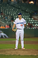 Ogden Raptors relief pitcher Justin Bruihl (45) looks in for the sign during a Pioneer League game against the Great Falls Voyagers at Lindquist Field on August 23, 2018 in Ogden, Utah. The Ogden Raptors defeated the Great Falls Voyagers by a score of 8-7. (Zachary Lucy/Four Seam Images)
