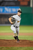 West Virginia Black Bears relief pitcher Cam Alldred (46) delivers a pitch during a game against the Batavia Muckdogs on June 18, 2018 at Dwyer Stadium in Batavia, New York.  Batavia defeated West Virginia 9-6.  (Mike Janes/Four Seam Images)