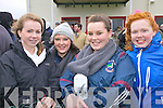 South Kerry ladies pictured l-r; Noelle Galvin, Sandra O'Shea, Kate O'Shea & Niamh O'Connell at the thrilling semi-final of the Munster Club Championships in Waterville on Sunday.