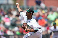 Dayton Dragons starting pitcher Tony Santillan (19) delivers a pitch to the plate against the West Michigan Whitecaps at Fifth Third Field on May 29, 2017 in Dayton, Ohio.  The Dragons defeated the Whitecaps 4-2.  (Brian Westerholt/Four Seam Images)