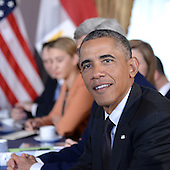US President Barack Obama holds a bilateral meeting with President Abdel Fattah el-SiSi (not pictured) of the Arab Republic of Egypt at the Waldorf Astoria Hotel in New York, NY, on September 25, 2014. <br /> Credit: Anthony Behar / Pool via CNP