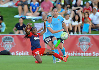 Boyds, MD - Saturday June 25, 2016: Crystal Dunn, Erin Simon during a United States National Women's Soccer League (NWSL) match between the Washington Spirit and Sky Blue FC at Maureen Hendricks Field, Maryland SoccerPlex.