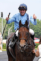 13th June 2020, Dresden, Saxony, Germany, State horse racing; Namwith Vladimir Panov up after the victory in the Grand Prix of the state capital Dresden