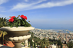 Israel, a view of Haifa and the Bahai Shrine and gardens on the slope of Mount Carmel